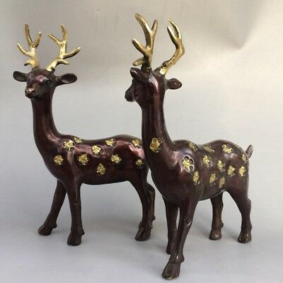Chinese antique carved a pair of sika deer old pure copper and gold   0015