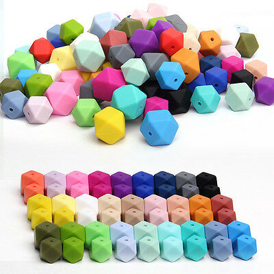 Hexagon Silicone Teething Beads Baby Jewelry DIY Chewable Necklace Teether 50Pcs