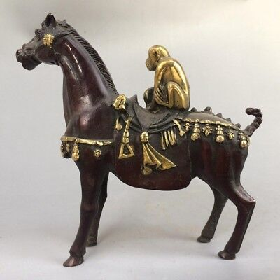 Chinese antique old pure copper and gold horse carving & monkey