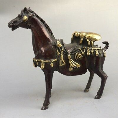 Chinese antique old pure copper and gold horse & carving flies