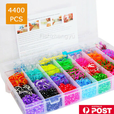 NEW DIY 4500pcs Rainbow Colourful Rubber Loom Bands Bracelet Making Kit w/ Box