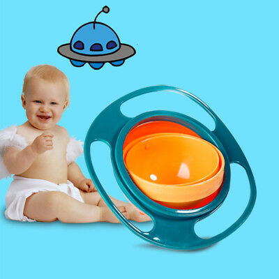 Baby Kids Non Spill Gyro Feeding Toddler Bowl 360° Rotation Anti Spilling