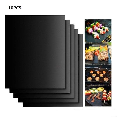 10x BBQ Grill Mat Barbecue Sheet Grilling Baking Set Non-stick Reusable Oven