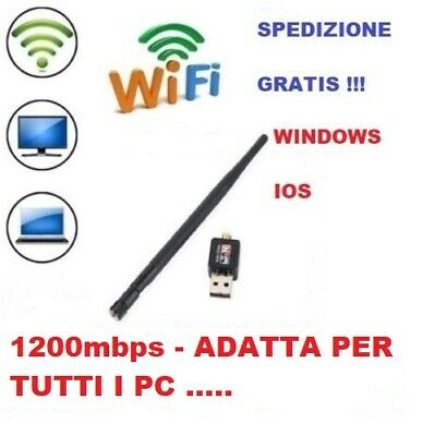 Adattatore Usb Pc Wifi 600 Mbps Antenna Mini Chiavetta Wireless Wi Fi Per Decode