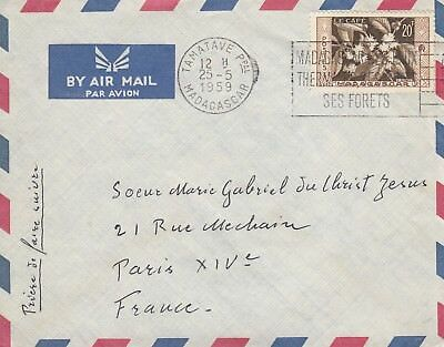 K 1848 Tamatave May 1959 air cover France; 20f rate; solo stamp use