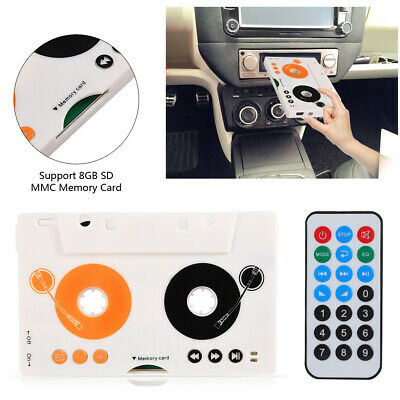 Car Kit Stereo Cassette Tape SD MMC Mp3 Player Adapter with Remote + Earphone SP