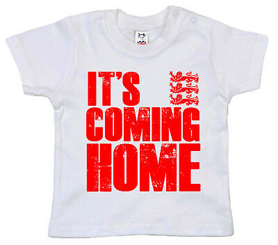 "World Cup 2018 Baby T-Shirt ""It's Coming Home"" England Football Supporters Gift"
