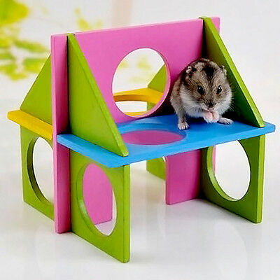 Funny Toy Mouse Rat Hamster Wooden Natural Gym Playground Exercise Colorfu UKPL