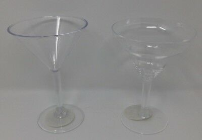 Plastic Margarita Martini Cocktail Glasses Clear Disposable Party BBQ Buffet