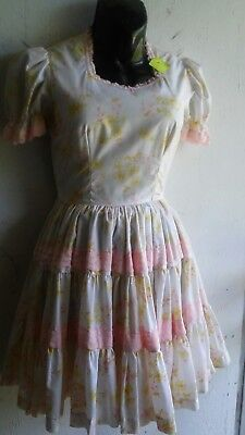 homemade vintage yellow floral print square dance dress size s