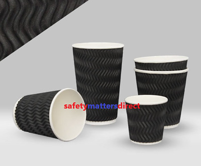 Disposable Coffee Cups Triple Wall Wave Embossed Charcoal 8oz 250pk