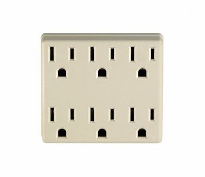 Leviton C21-6adpt-00i Ivory Six-Outlet Grounding Adapter
