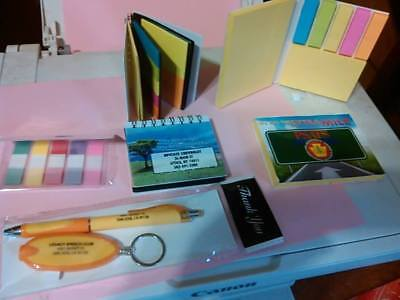 Lot of 6 Misprint  Assorted Sticky Colored Notesheets, Pen, keychain