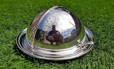 Antique vintage ASGR silver plated serving cloche dome sliding dish dinner party