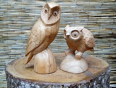 Wooden Carved Figure OWL Large 15 cm OR Small 12 cm Natural Colour Handmade
