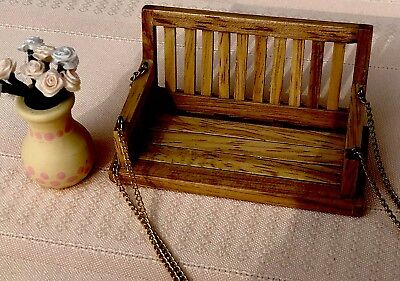 Dollhouse Miniature Wood Pot Of Floral/ Wood Hanging Porch Swing