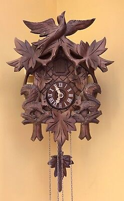 Cuckoo Clock, Black Forest, Wood carving. Mechanical 1 Day movement.