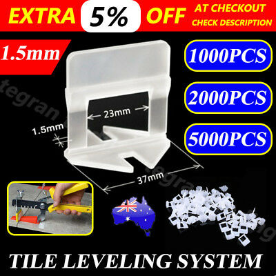 1000/2000/5000X Tile Leveling System Clips Wall Floor Tiling Spacer Tool 1.5mm