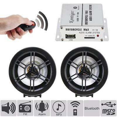 Bluetooth Waterproof Motorcycle Anti-theft Sound MP3 FM Radio Player SD USB 12V