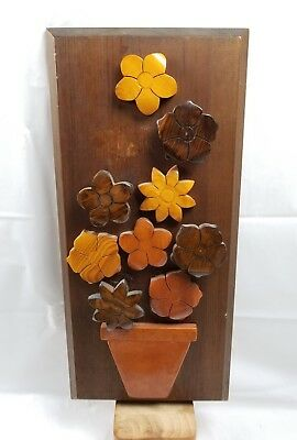 """Wooden Carved Flowers & Vase Tramp Folk Art Style Plaque Picture 20"""""""