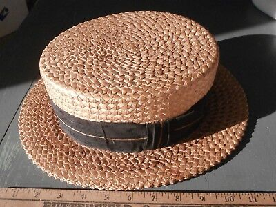 Antique Men's STRAW HAT size 7-1/8 showing an aged patina, patented 1898 & 1904!