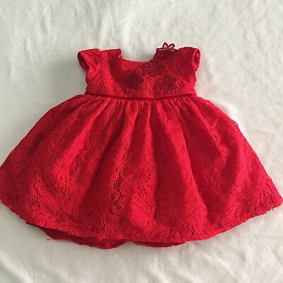 Laura Ashley London Baby Girl Dress 0 3 Months Red Lace Party Dress