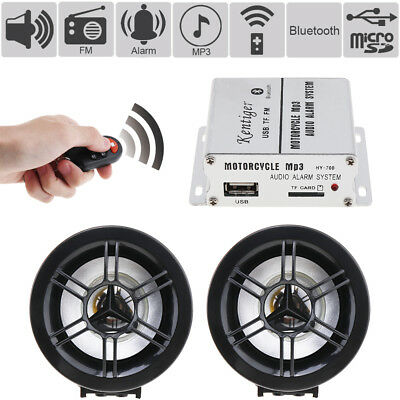 Waterproof Bluetooth Motorcycle Handlebar Audio Stereo Speaker System MP3 USB FM