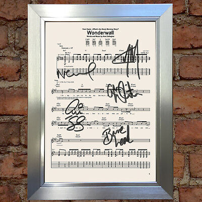 OASIS WONDERWALL MUSIC SHEET Signed Autograph Mounted Photo Repro A4 Print 754