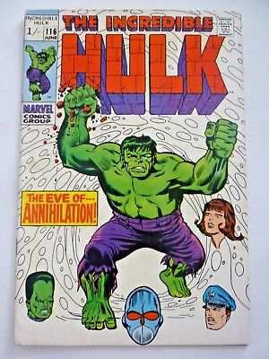 The Incredible Hulk 116 June 1969 Silver Age Marvel VGC
