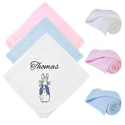 100% Cotton Summer Blanket Peter Rabbit Personalised Name Date Baby Shower Gift