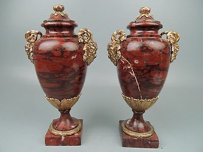 Best Quality Antique 19C French Dore Bronze & Rouge Marble Cassolettes Urns VR