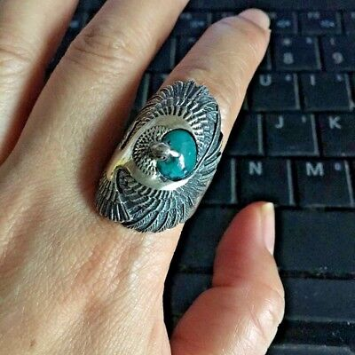 vtg sterling silver 925 USA thick eagle w/ real turquoise ring s8.5