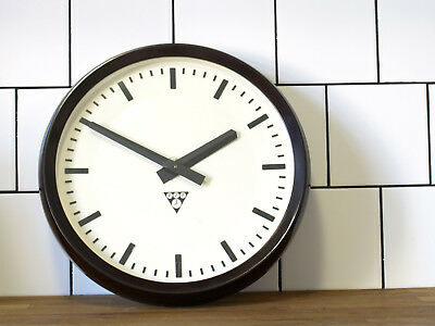 running old Pragotron wall clock Factory vintage 14 9/16inch - with back cover