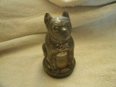 Vintage / Antique Boston Terrier Lidded Glass Jar marked USA