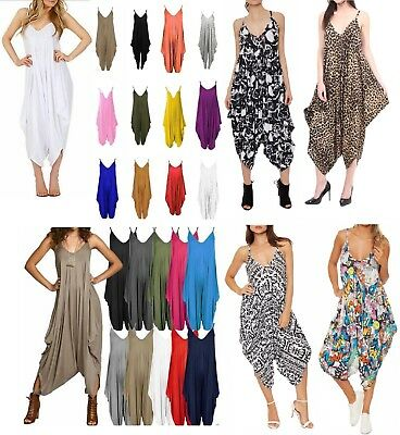 Womens Cami Strappy Romper Hareem Lagenlook Baggy Playsuit Jumpsuit 8-26