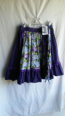 homemade purple & floral square dance skirt w/matching neck tie size S/M