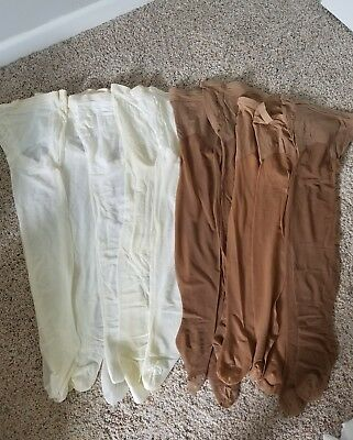 Lot 10 pairs of New vintage pantyhose white/brown mix crafts, etc