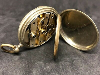 Antique Solid Silver French Porcelain Two Tone Dial Key Wind Set Pocket Watch