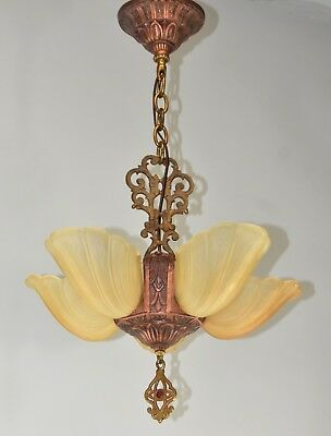 Art Deco Copper Tone Chandelier With Floral Detail Slip Shades
