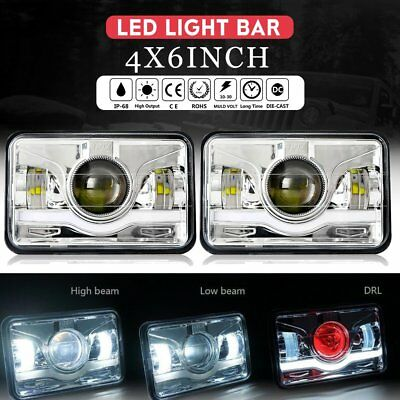 Pair 4x6 LED Headlights for Kenworth T400 T600 T800 W900L W900B Classic 120/132