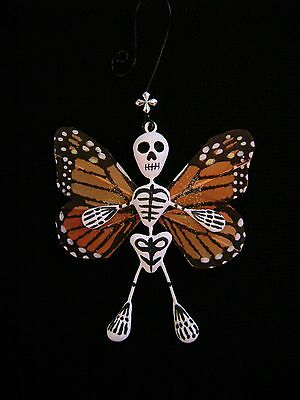 Skeleton Monarch Butterfly Ornament Day of the Dead Mexican Folk Art Signed GB