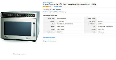 Amana Hdc12A2 Commercial Microwave Oven