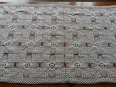 "ANTIQUE Beautiful Vintage Hand Crochet Lace Tablecloth Ivory Rectangle 21.5""x50"""
