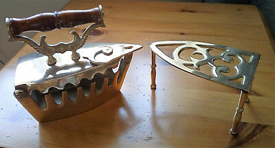 Vintage Ornate Brass Iron with Stand Trivet Wood Handle