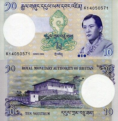 BHUTAN 10 Ngultrum Banknote World Paper Money Currency Pick p29a 2006 Bill Note