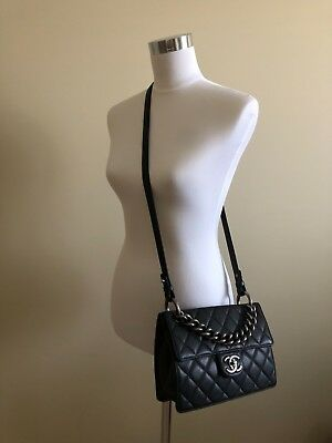 d823105e6dd5b4 NEW100% AUTHENTIC CHANEL Medium Aged Calfskin Coco Handle Bag With ...