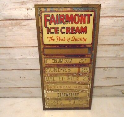 """Vintage FAIRMONT ICE CREAM Store Display Pricing Slots Glass Rare Sign 20"""" x 10"""""""