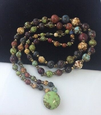 Beautiful Vintage Art Deco Twin Stranded Pebble Agate Bead Necklace