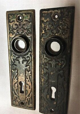 Antique Hardware, Door Plate, 1885, Brass, Ornate, Eastlake Style