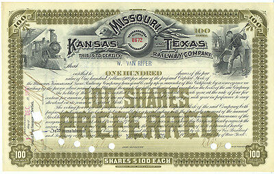 USA Missouri, Kansas and Texas Railway Aktie old share 1903 Eisenbahn deko